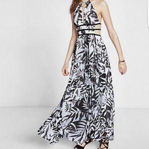 EXPRESS Tropical Prints cut outs maxi dress